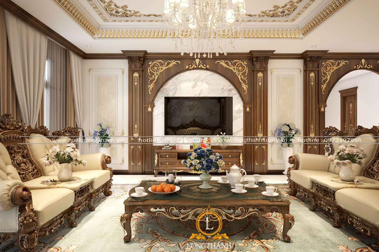 Mẫu trần thạch cao tân cổ điển cho phòng khách dát vàng thể hiện gu thẩm mỹ riêng của chủ nhân