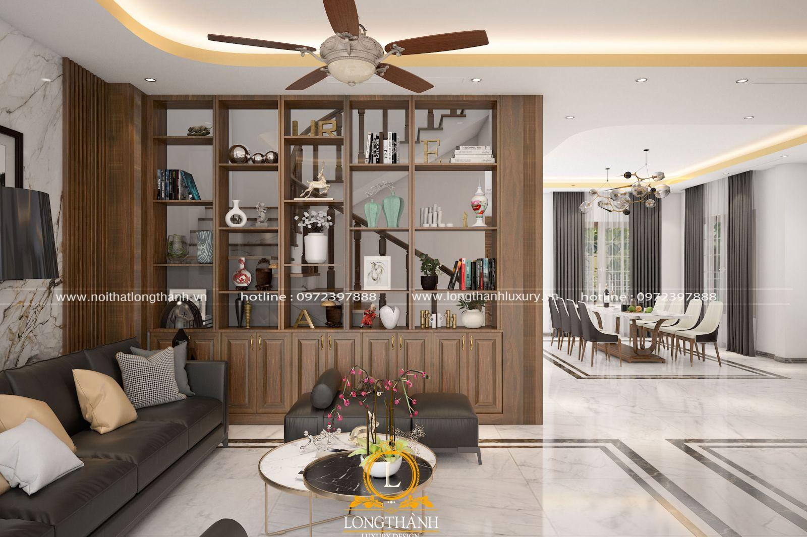 Phòng khách đẹp được thiết kế hệ vách trang trí ấn tượng tạo không gian riêng