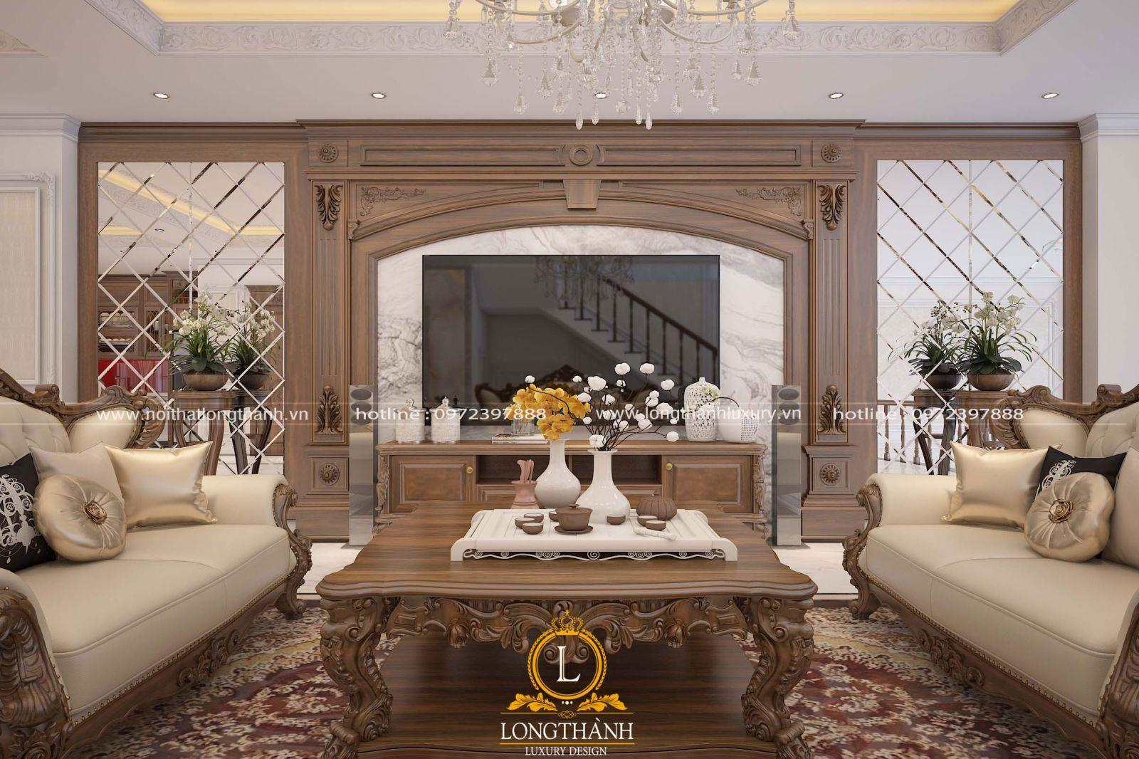 Không gian phòng khách đẹp được trang trí bởi hệ vách cân đối cùng đồ nội thất