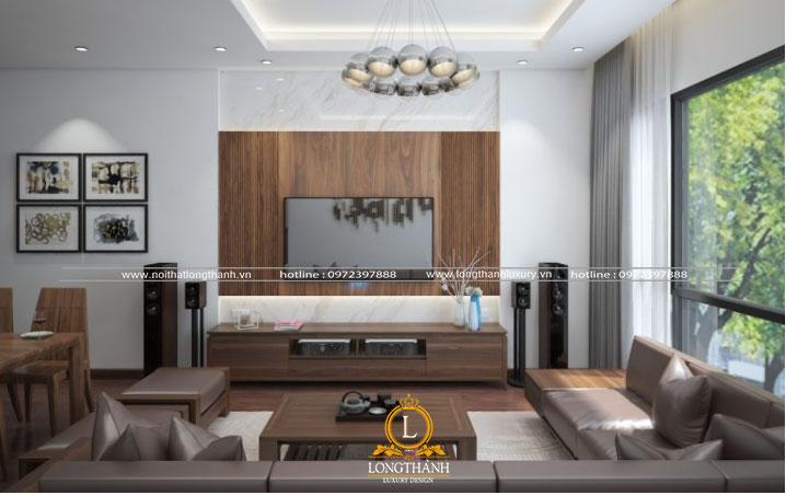 Căn phòng khách sử dụng gỗ tự nhiên và trang trí không gian với chất liệu gỗ