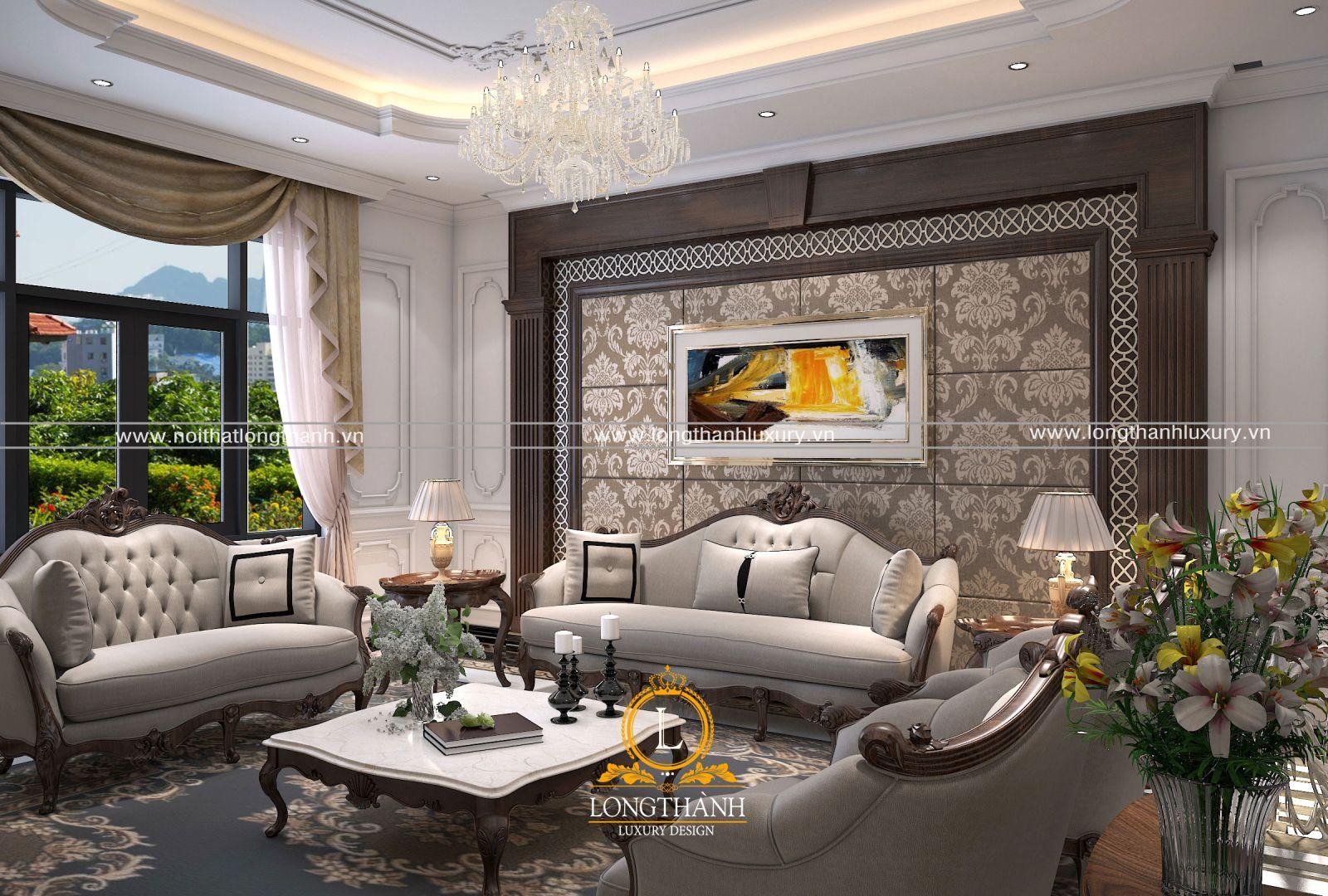 Nội thất phòng khách ấn tượng và nổi bật khi sử dụng nhiều chất liệu cao cấp