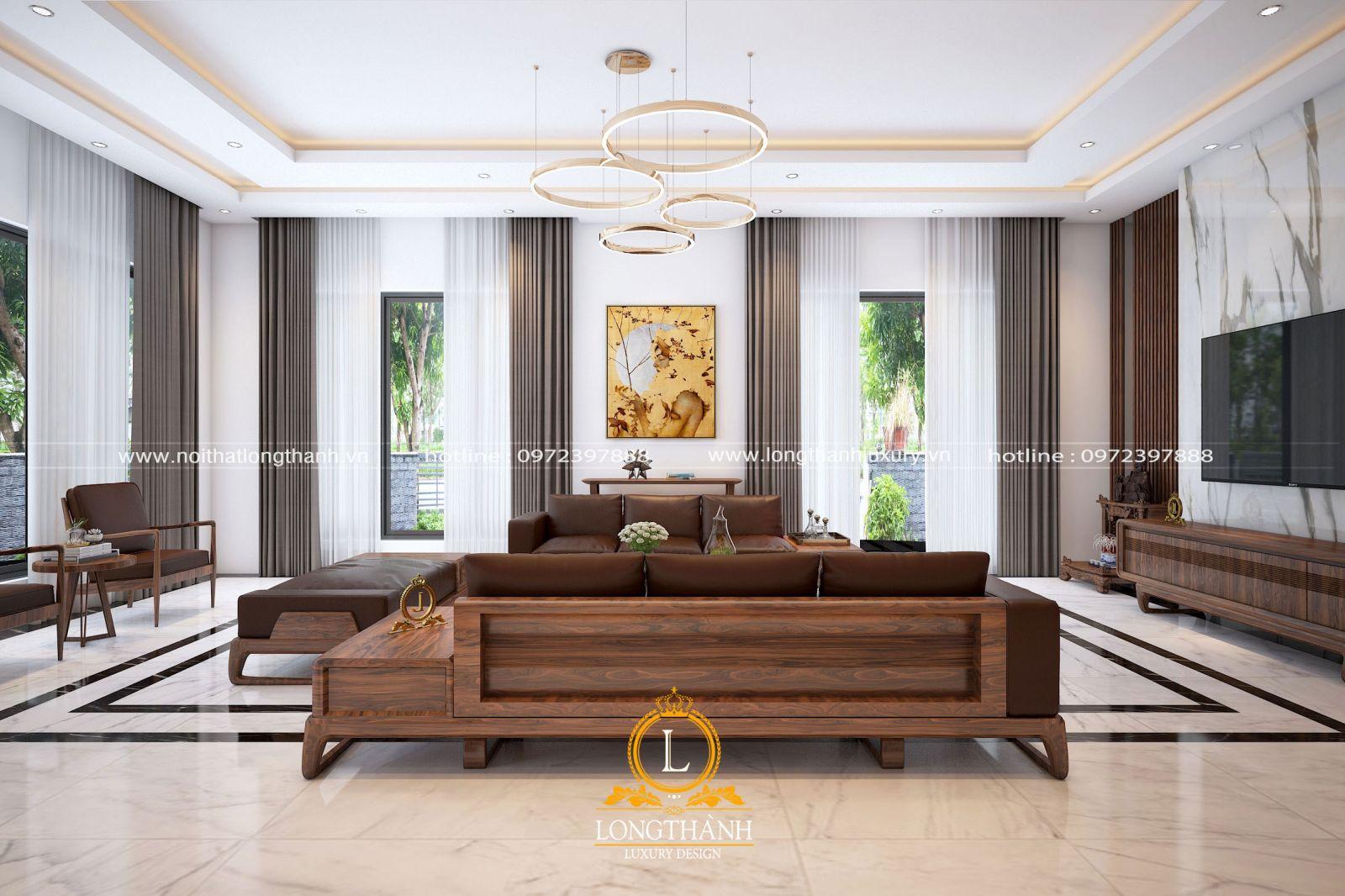 Phòng khách hiện đại đẹp với không gian thông thoáng