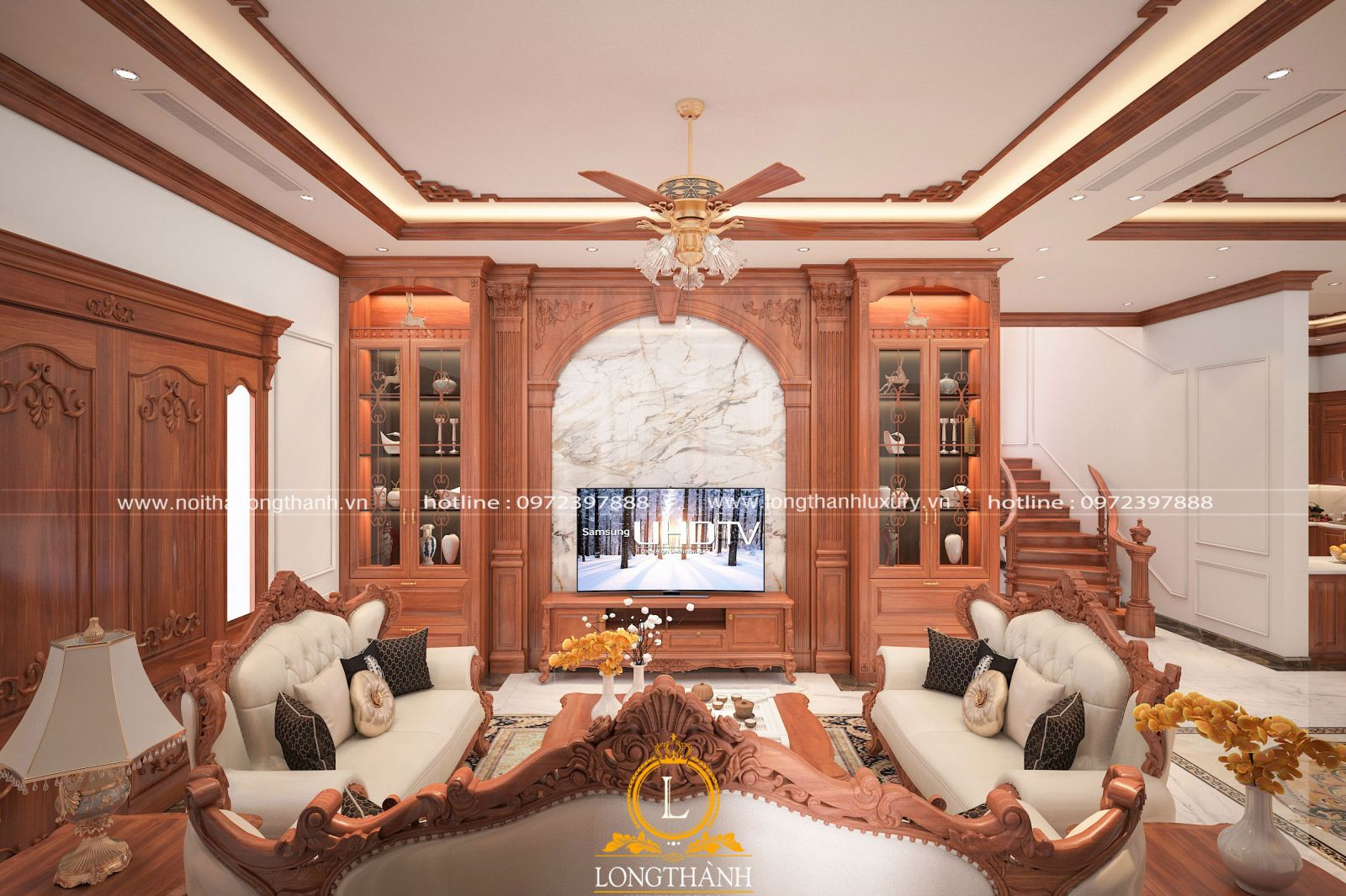 Phòng khách được thiết kế bố trí hài hòa và cân đối