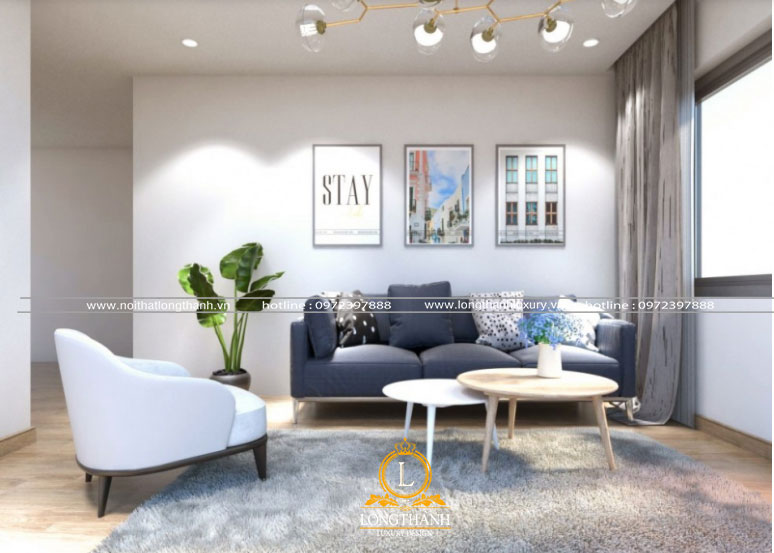 Phòng khách hiện đại chung cư đón ánh sáng tự nhiên