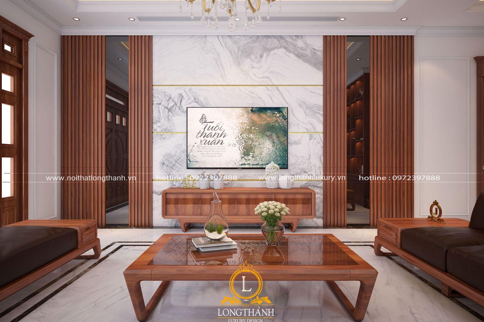 Nội thất phòng khách hiện đại đẹp tinh tế với gam màu hài hòa cân đối