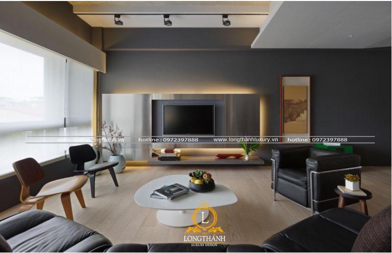 Phòng khách hiện đại đẹp với gam màu tối