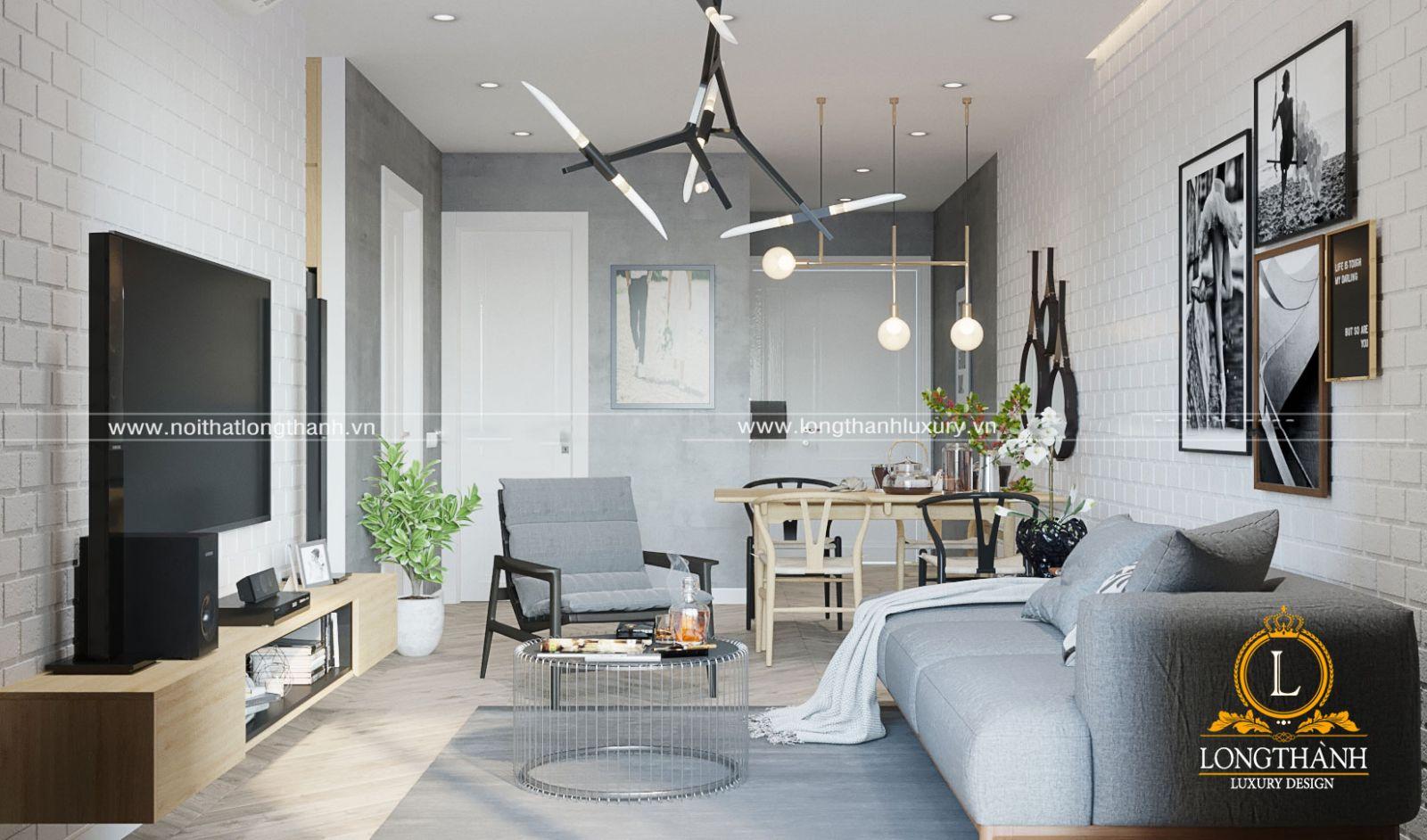 Không gian phòng khách với đồ nội thất đơn giản được bố trí gọn gàng đẹp mắt