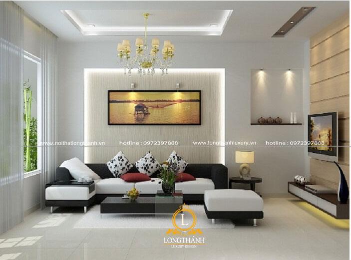 Phòng khách hiện đại với gam màu trắng nhẹ nhàng và thanh lịch