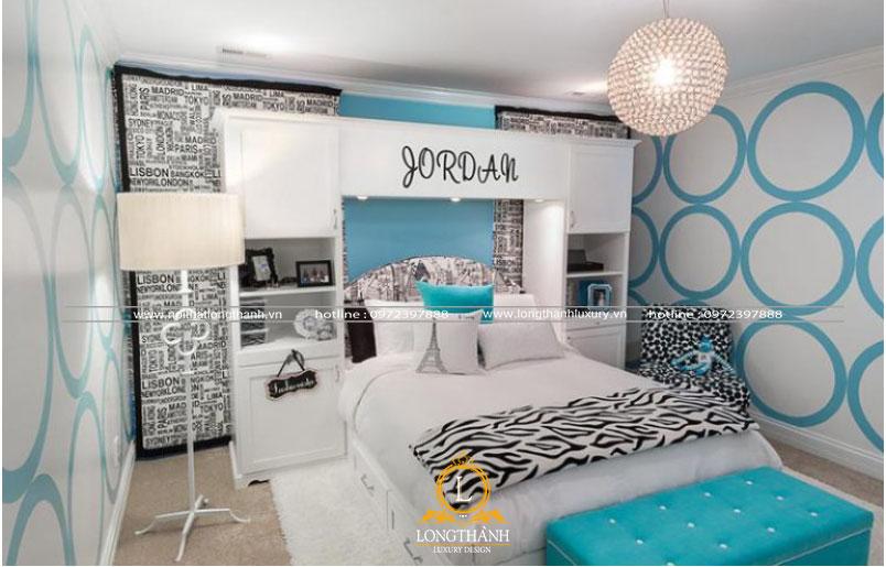 Phòng khách hiện đại đơn giản với sắc xanh