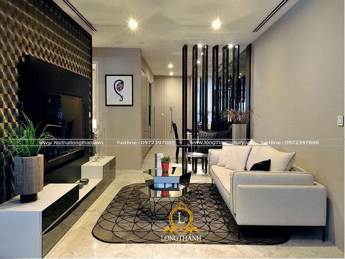 Căn phòng khách hiện đại thiết kế đơn giản mà ấm cúng