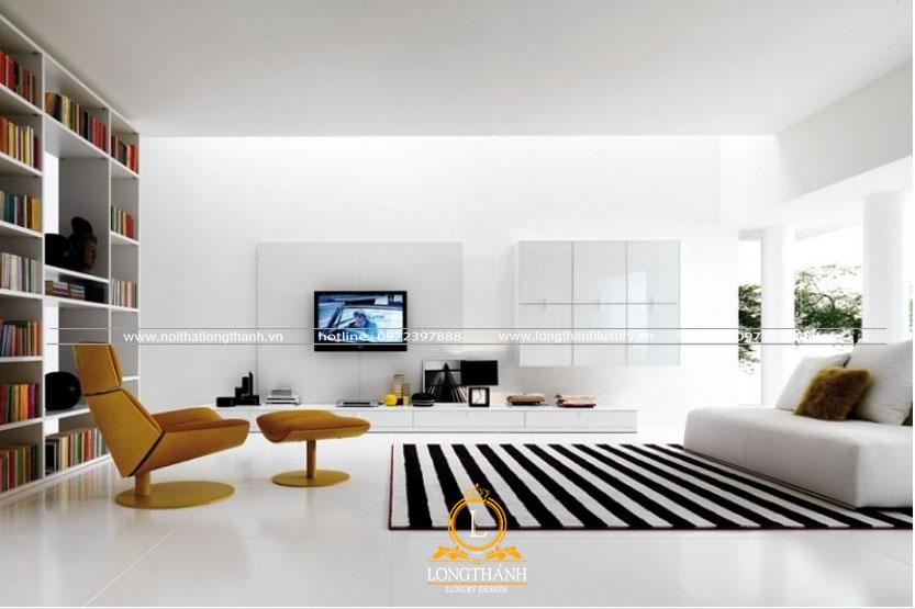 Phòng khách hiện đại màu trắng thư thái