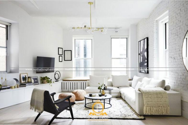 Phòng khách hiện đại màu trắng tiện lợi