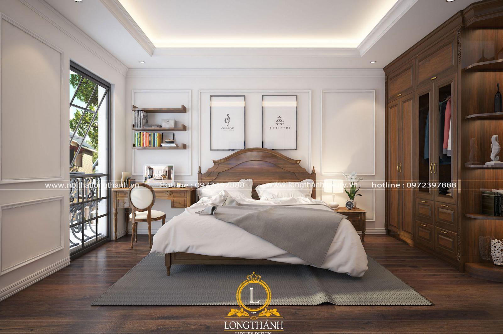 Căn phòng ngủ cao cấp được bố trí kinh hoạt theo không gian thực tế