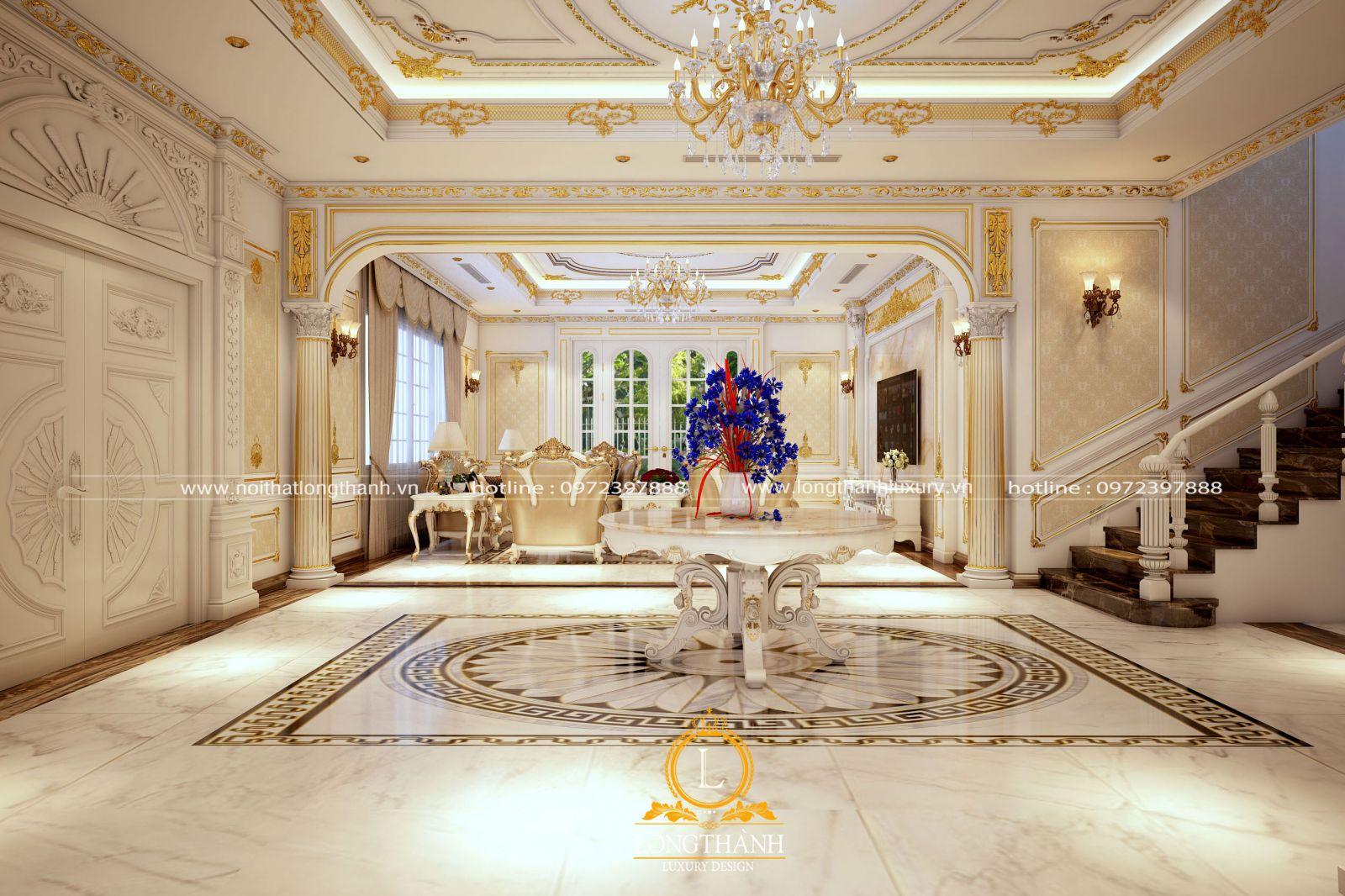 Không gian phòng khách thiết kế theo phong cách tân cổ điển Châu Âu  được sử dụng nhiều giấy dán tường