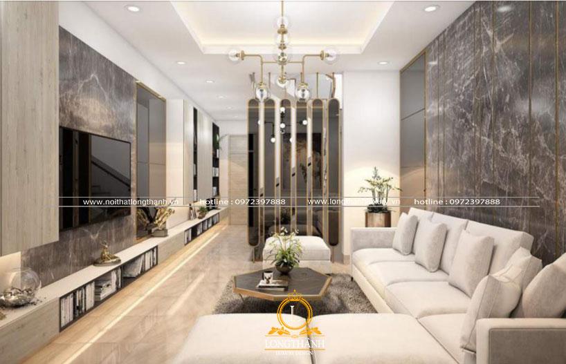 Bộ sofa góc L đơn giản mà tiện lợi cho phòng khách nhà phố