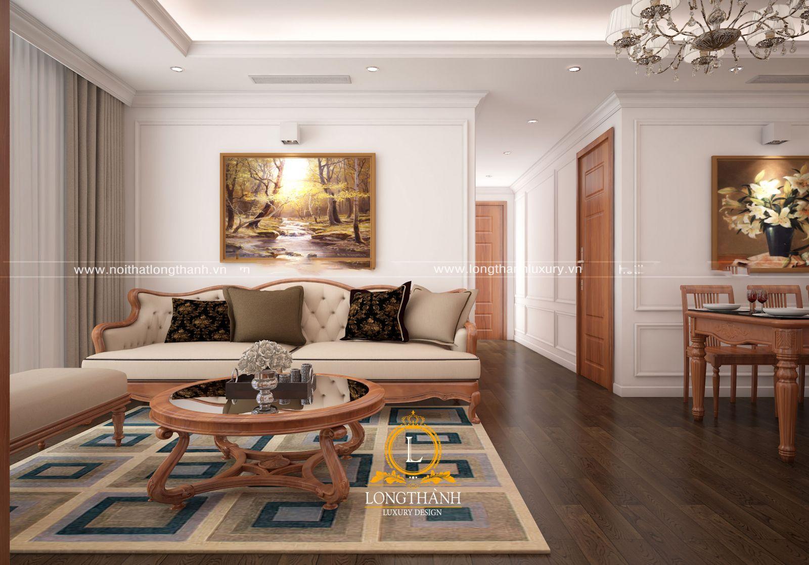 Phòng khách được bài trí cân đối hài hòa theo không gian thực tế