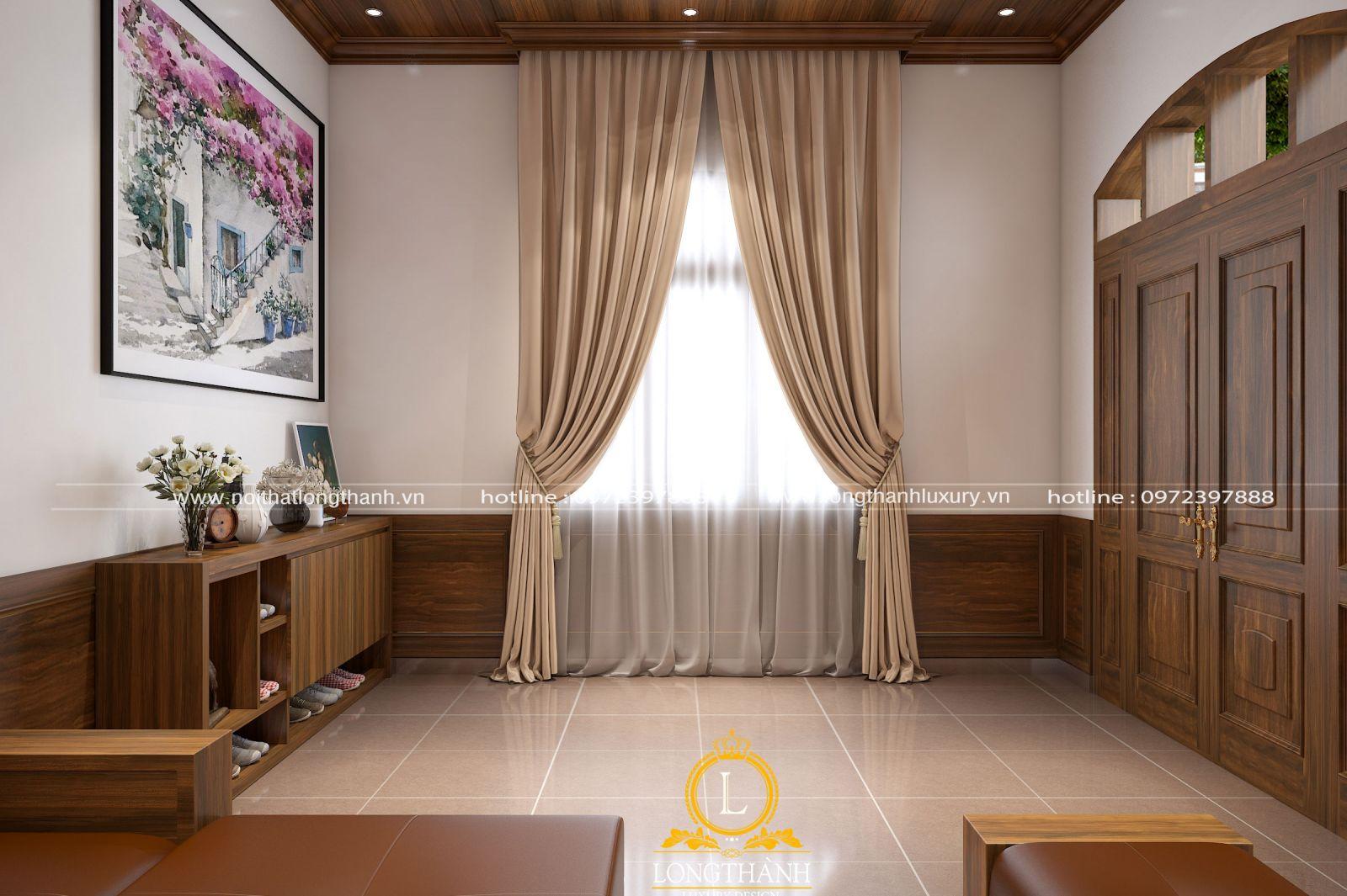 Phòng khách thông thoáng với hệ cửa kính tại sảnh đón nhiều ánh sáng tự nhiên