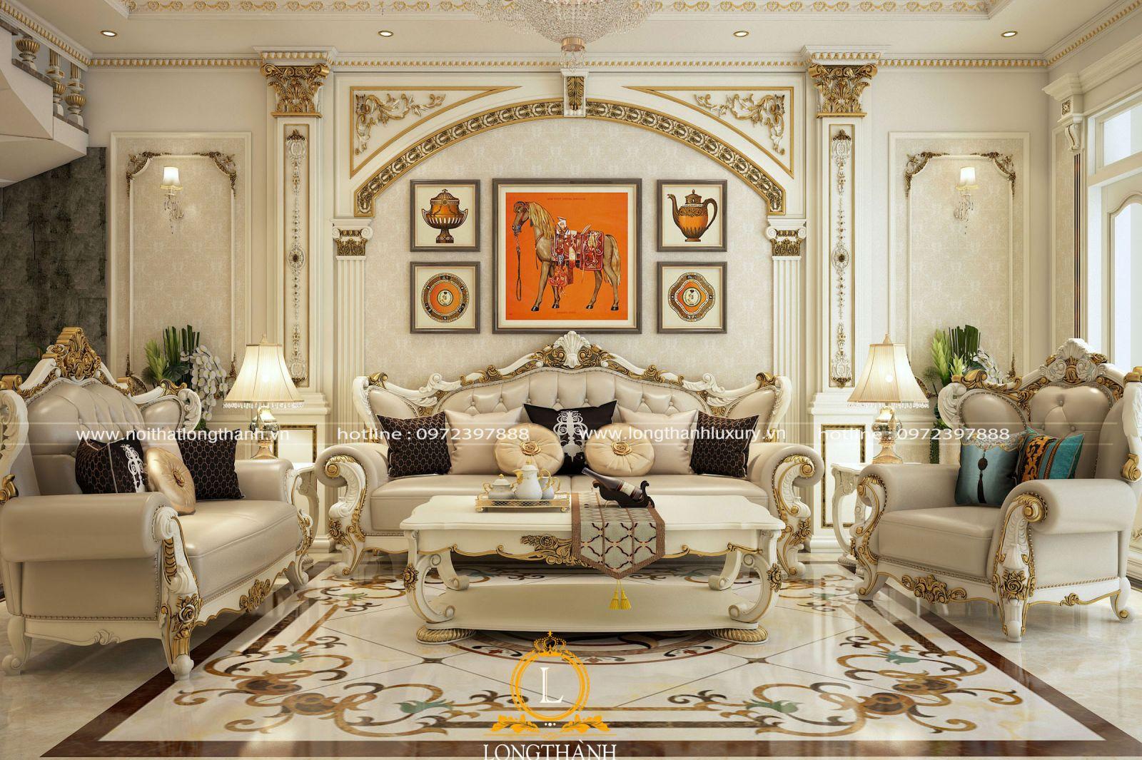 Phòng khách sơn trắng tân cổ điển dát vàng