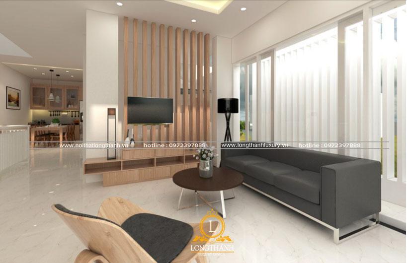 Phòng khách cho nhà ống được thiết kế sử dụng cửa kính