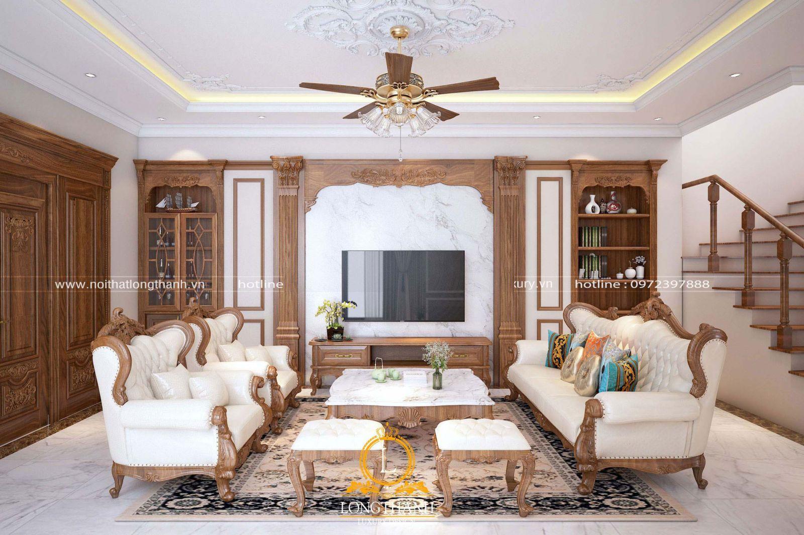 Phòng khách tân cổ điển đẹp kết hợp thảm trải sàn