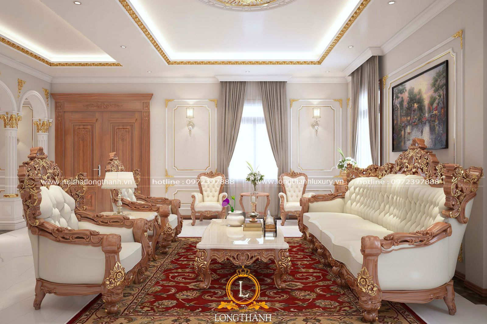 Phòng khách tân cổ điển dùng thảm trải sàn đỏ vô cùng ấn tượng