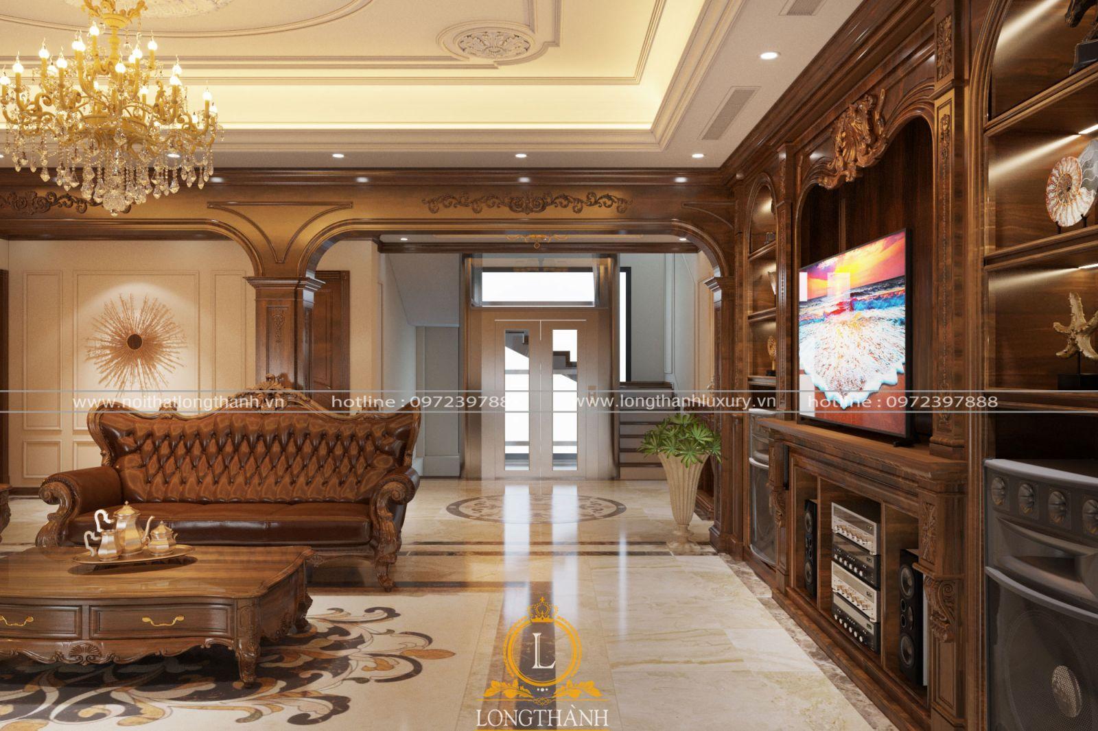Phòng khách tân cổ điển gam màu nâu