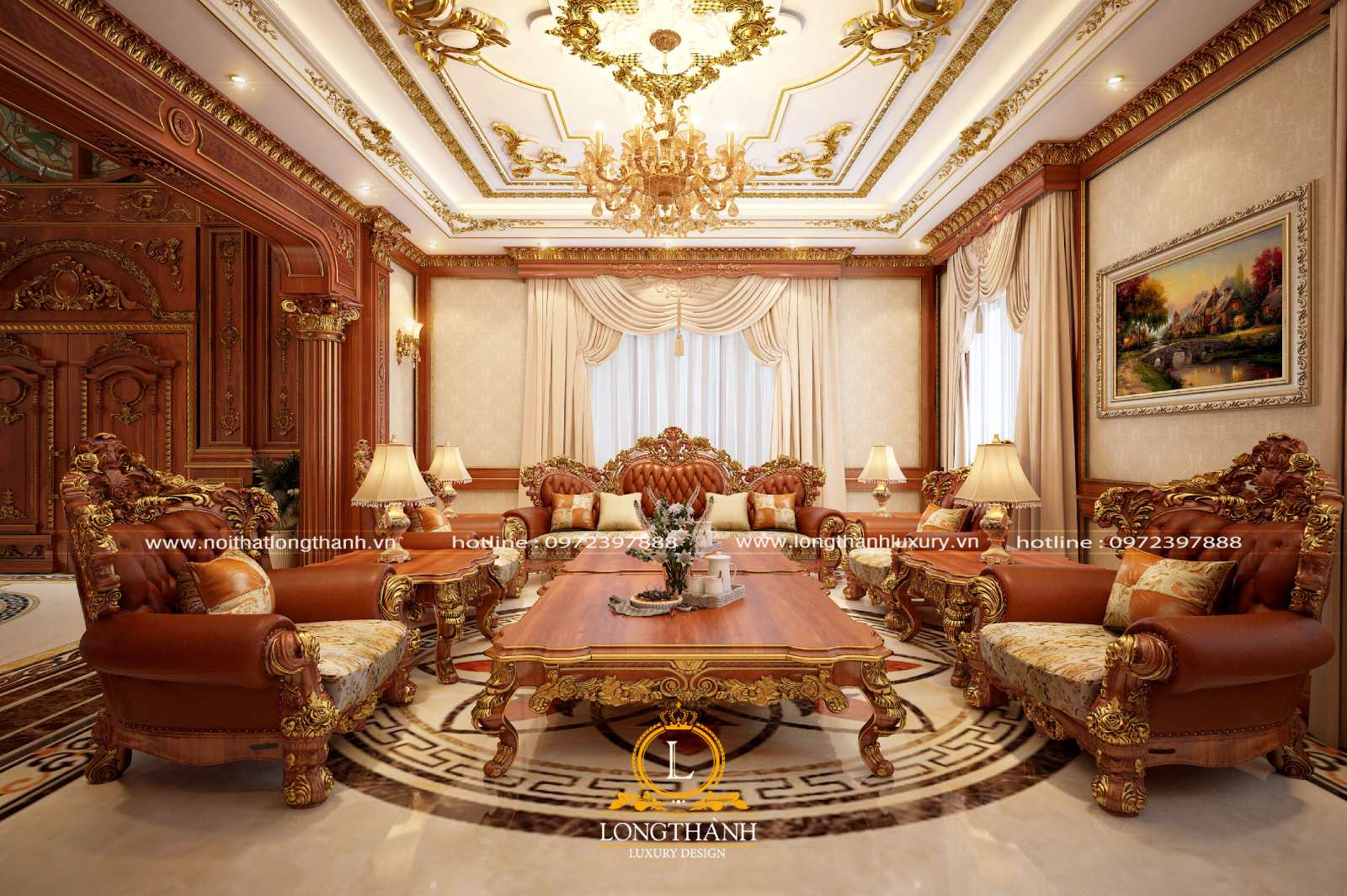 Phòng khách tân cổ điển lộng lẫy mang đậm phong cách hoàng gia