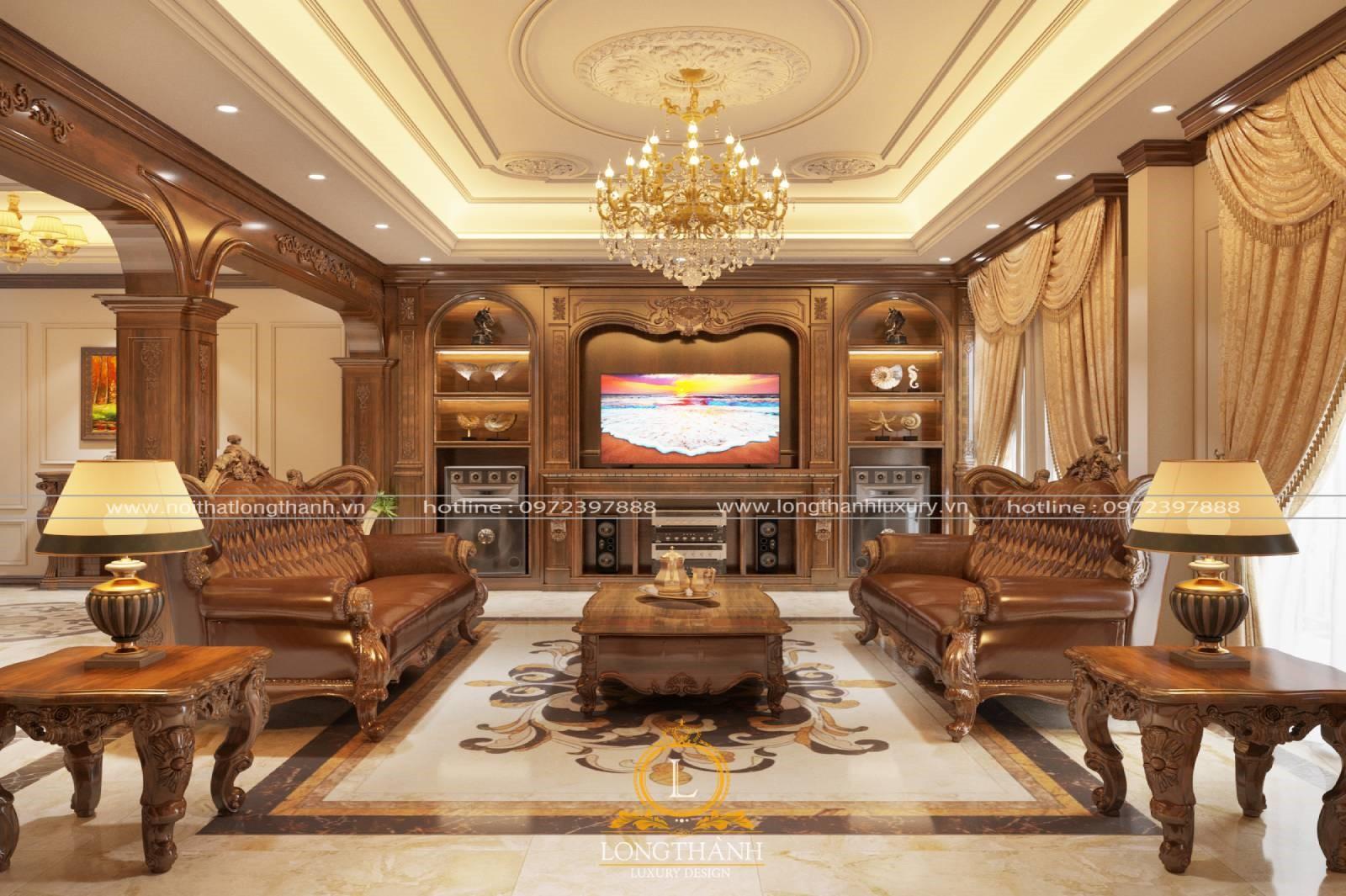 Phòng khách tân cổ điển nguy nga cùng đèn chùm nhiều tầng