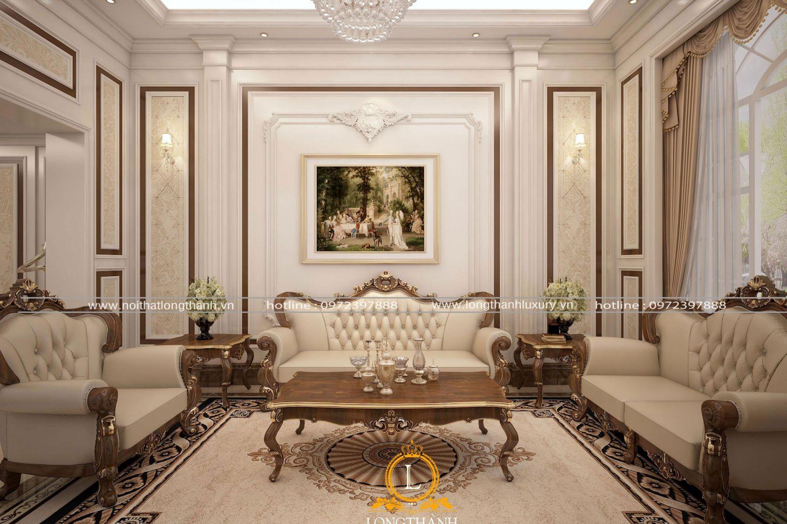 Sofa tân cổ điển dát vàng hoa văn ấn tượng trong phòng khách