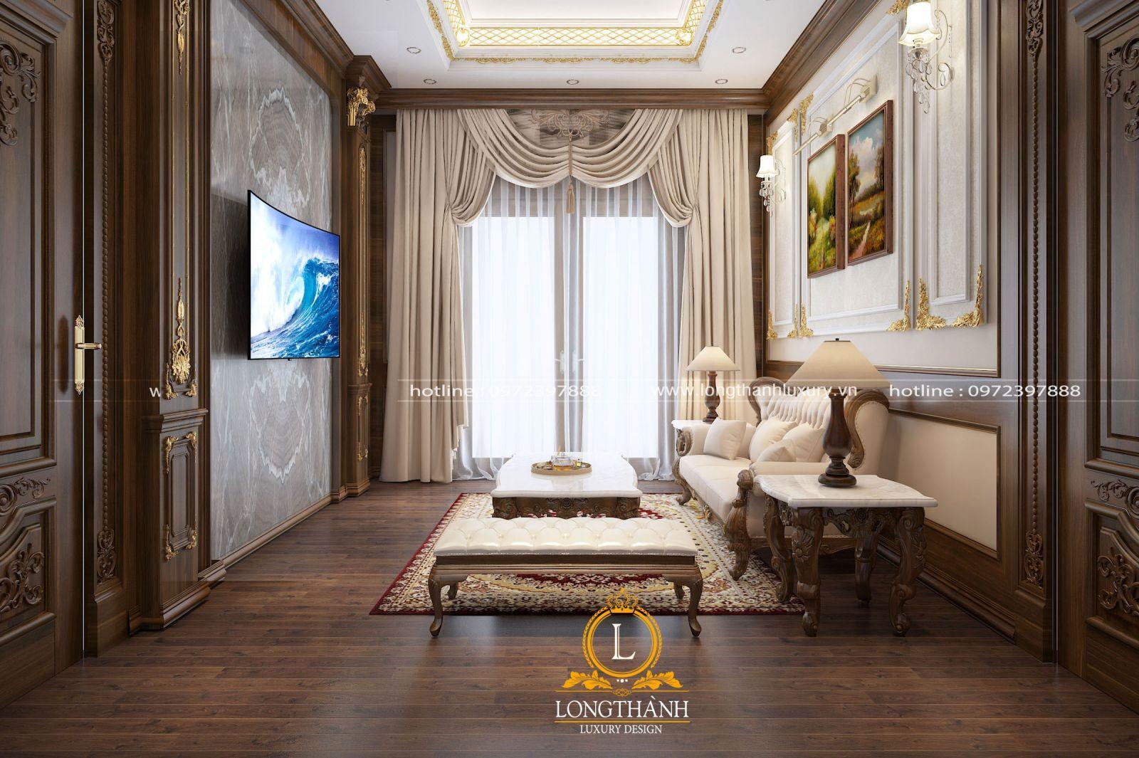 Phòng khách tân cổ điển nhỏ với điểm nhấn từ mẫu rèm cửa quý phái