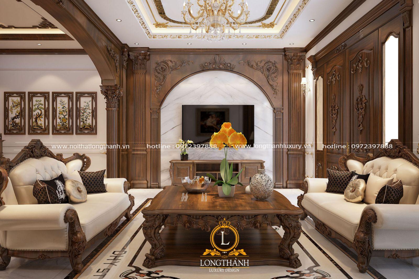 Nội thất phòng khách với dấu ấn tân cổ điển thiết kế tinh tế phù hợp cùng không gian