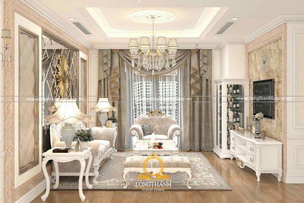 Phòng sinh hoạt chung đơn giản với nội thất gỗ sơn trắng tinh tế