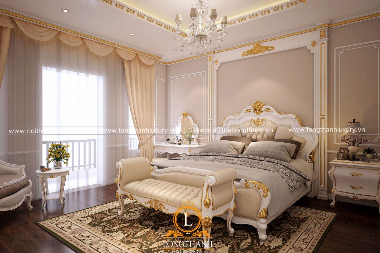 Phòng ngủ cao cấp cho biệt thự mang phong cách tân cổ điển sang trọng