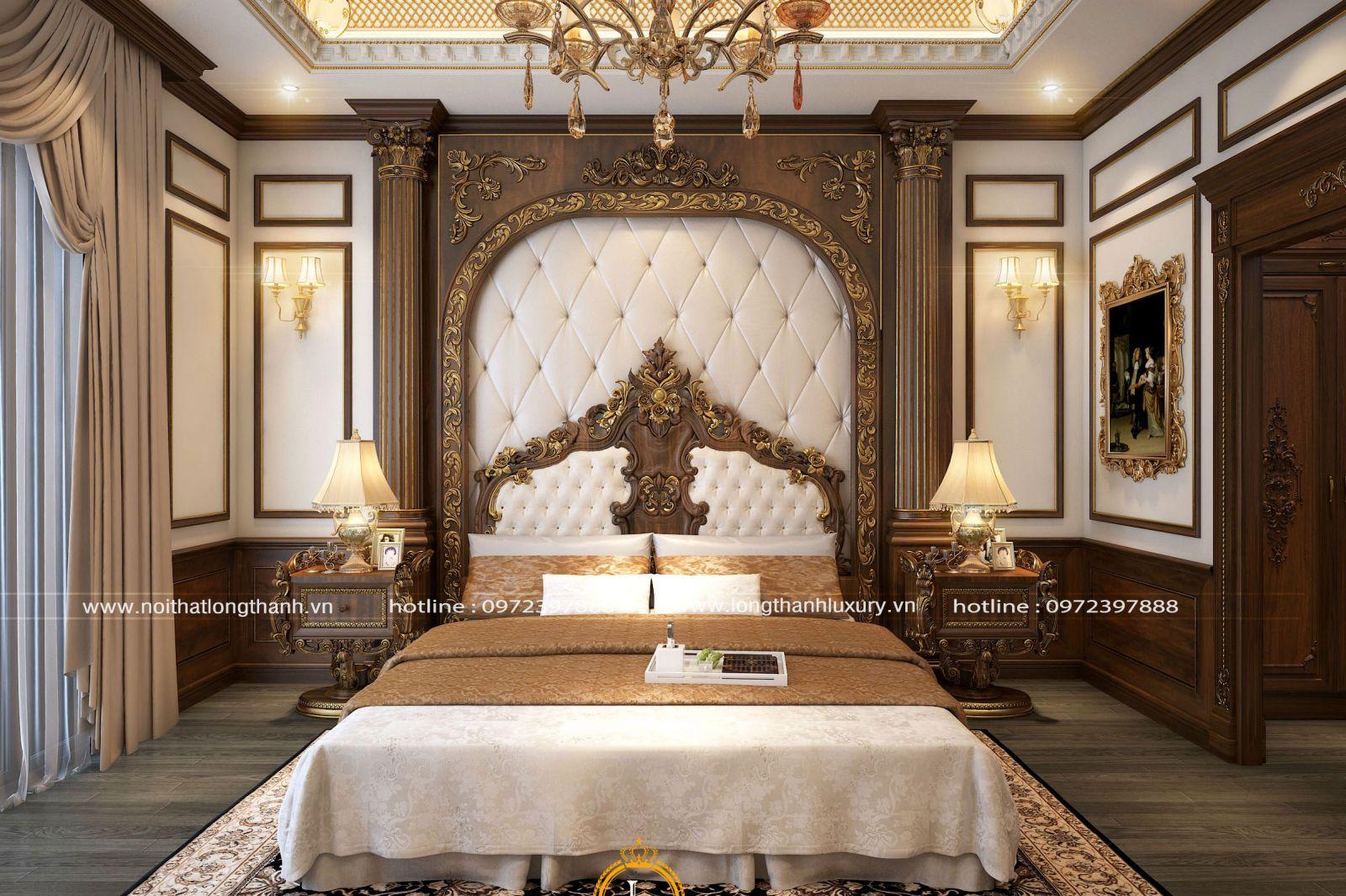 Không gian phòng ngủ cổ điển với họa tiết hoa văn dát vàng ấn tượng