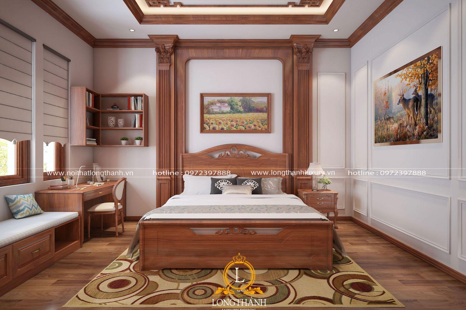 Thiết kế nội thất phòng ngủ kết hợp với tranh treo tường