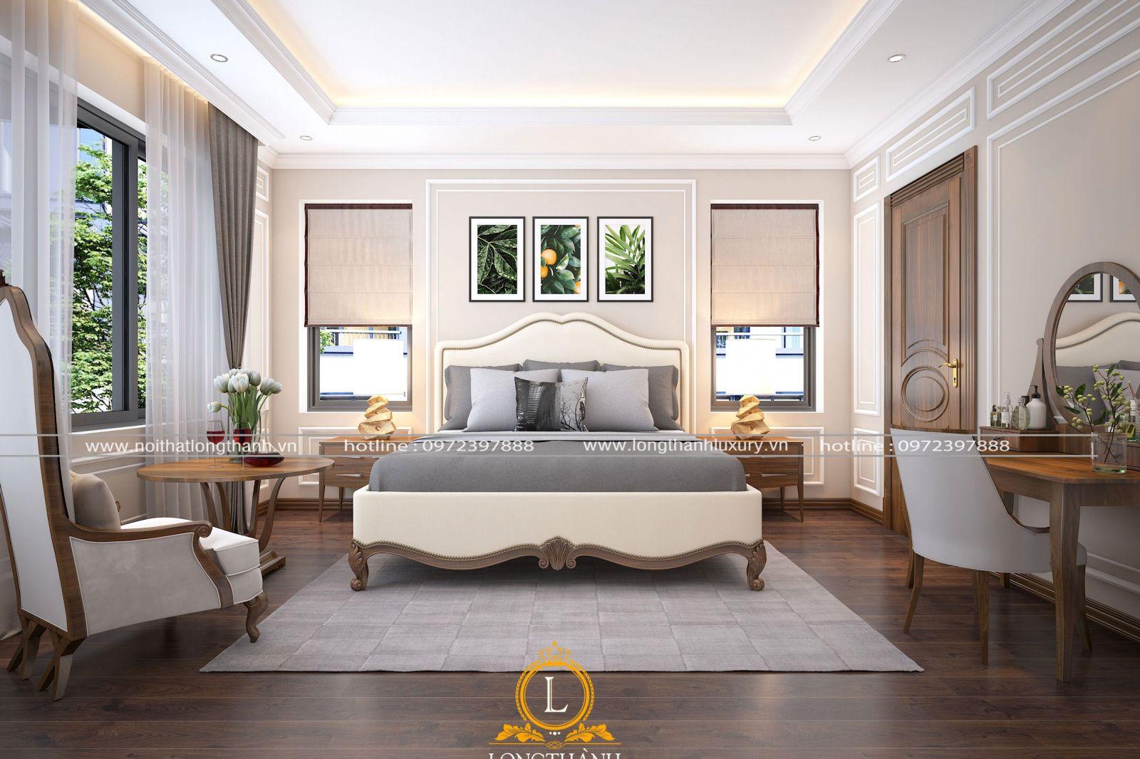Phòng ngủ cao cấp gỗ gõ trẻ trung