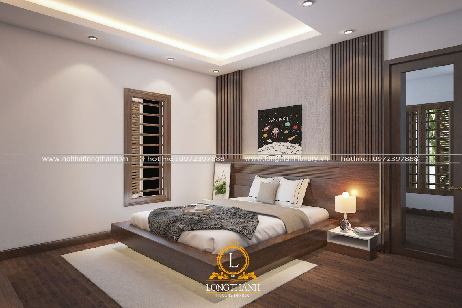 Phòng ngủ gỗ Óc Chó hiện đại cao cấp