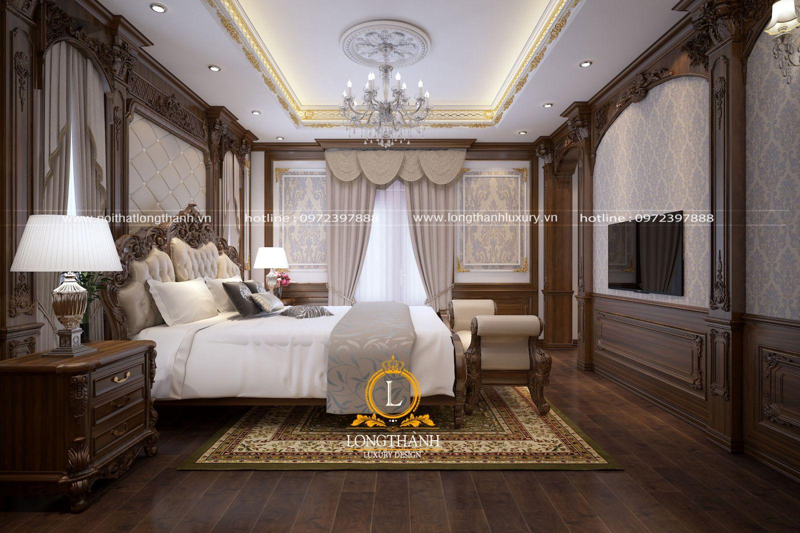 không gian phòng ngủ cao cấp cho biệt thự được lựa chọn đồ nội thất và bố trí không gian khoa học mà tiện nghi