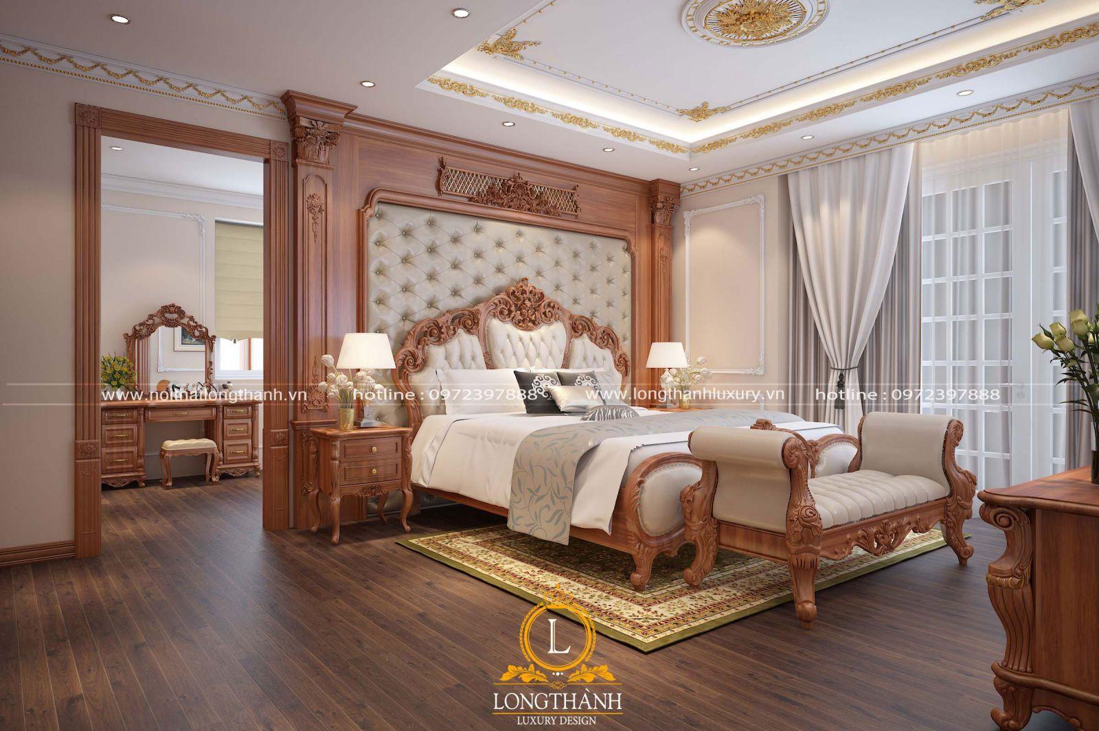 Chất liệu cao cấp được sử dụng cho căn phòng ngủ tân cổ điển