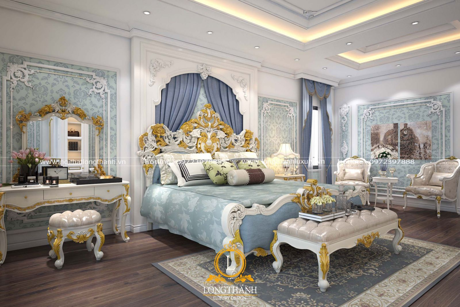 Không gian phòng ngủ  cao cấp được sử dụng gam màu xanh ngọc làm chủ đạo thể hiện nét cá tính riêng của chủ nhân