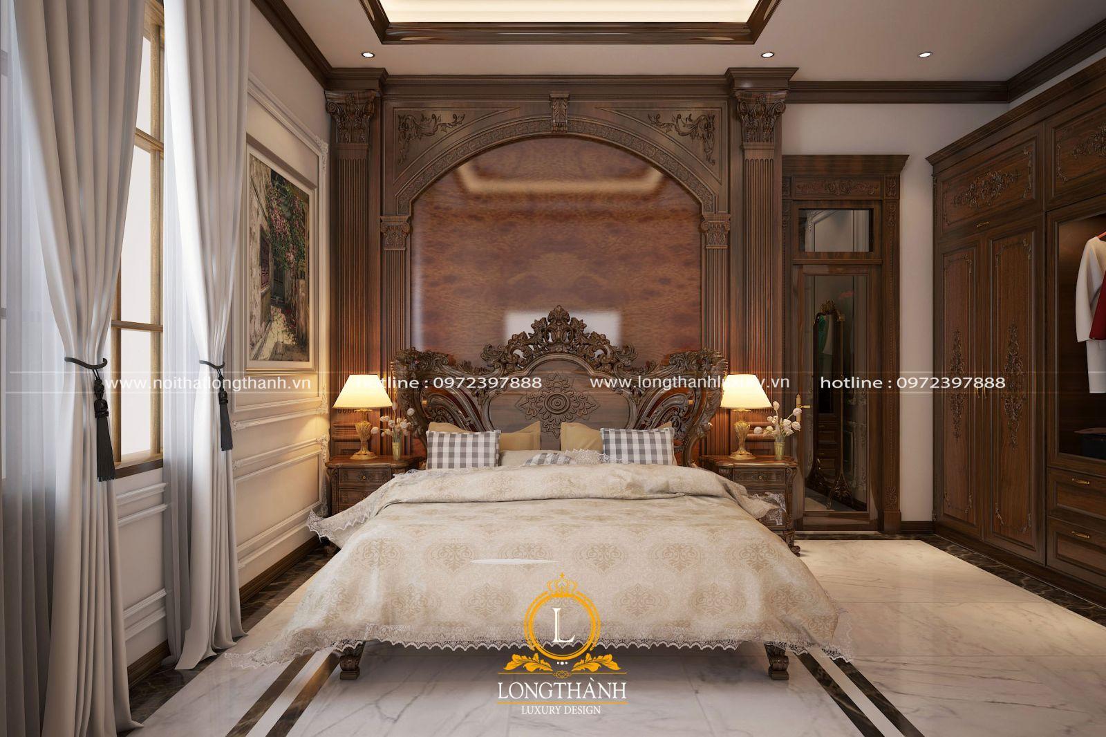 Không gian nội thất phòng ngủ cao cấp được chủ nhân lựa chọn gam màu trầm