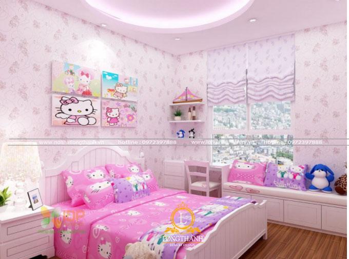 Phòng ngủ hiện đại mầu hồng cho bé gái thích Hello kitty