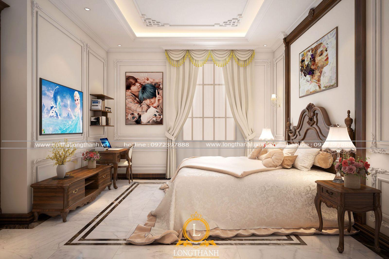 Mẫu phòng ngủ tân cổ điển đơn giản hiện đại dành cho bé gái