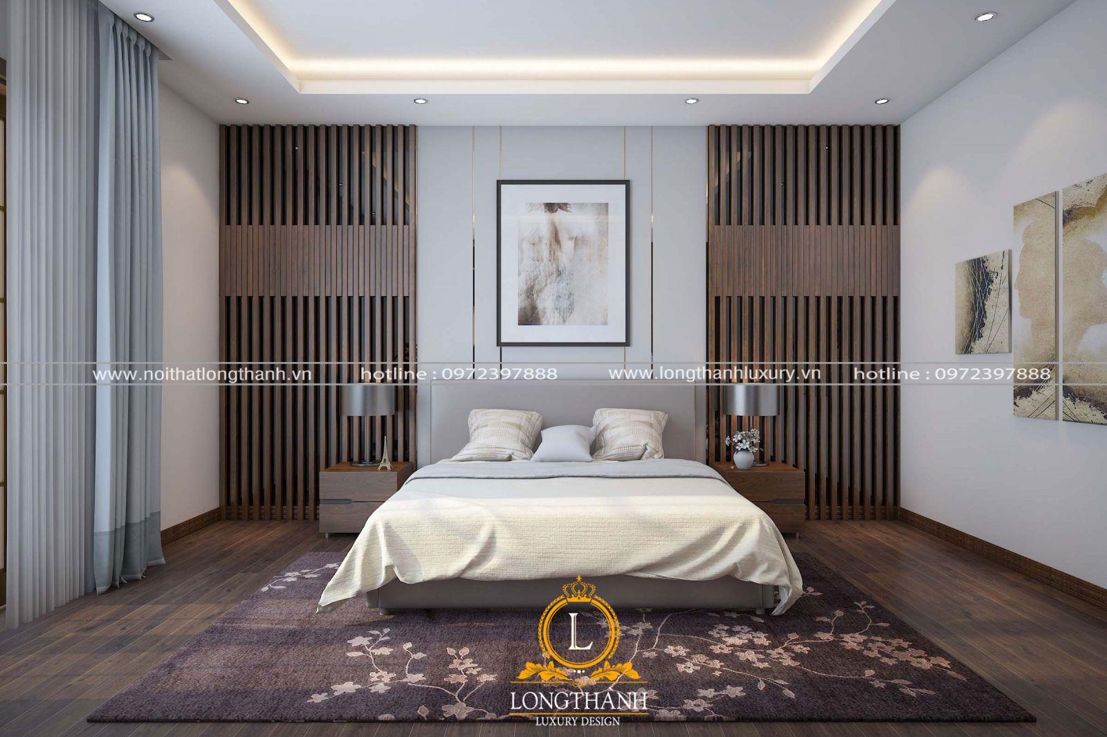 Phòng ngủ hiện đại đẹp kết hợp các khung tranh cùng giấy dán tường