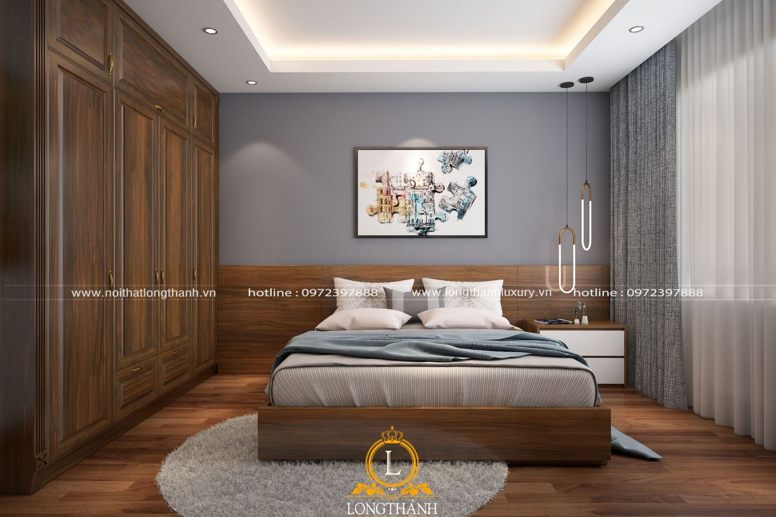 Chiếc giường đẹp được làm từ gỗ tự nhiên không thể thiếu trong phòng ngủ hiện đại
