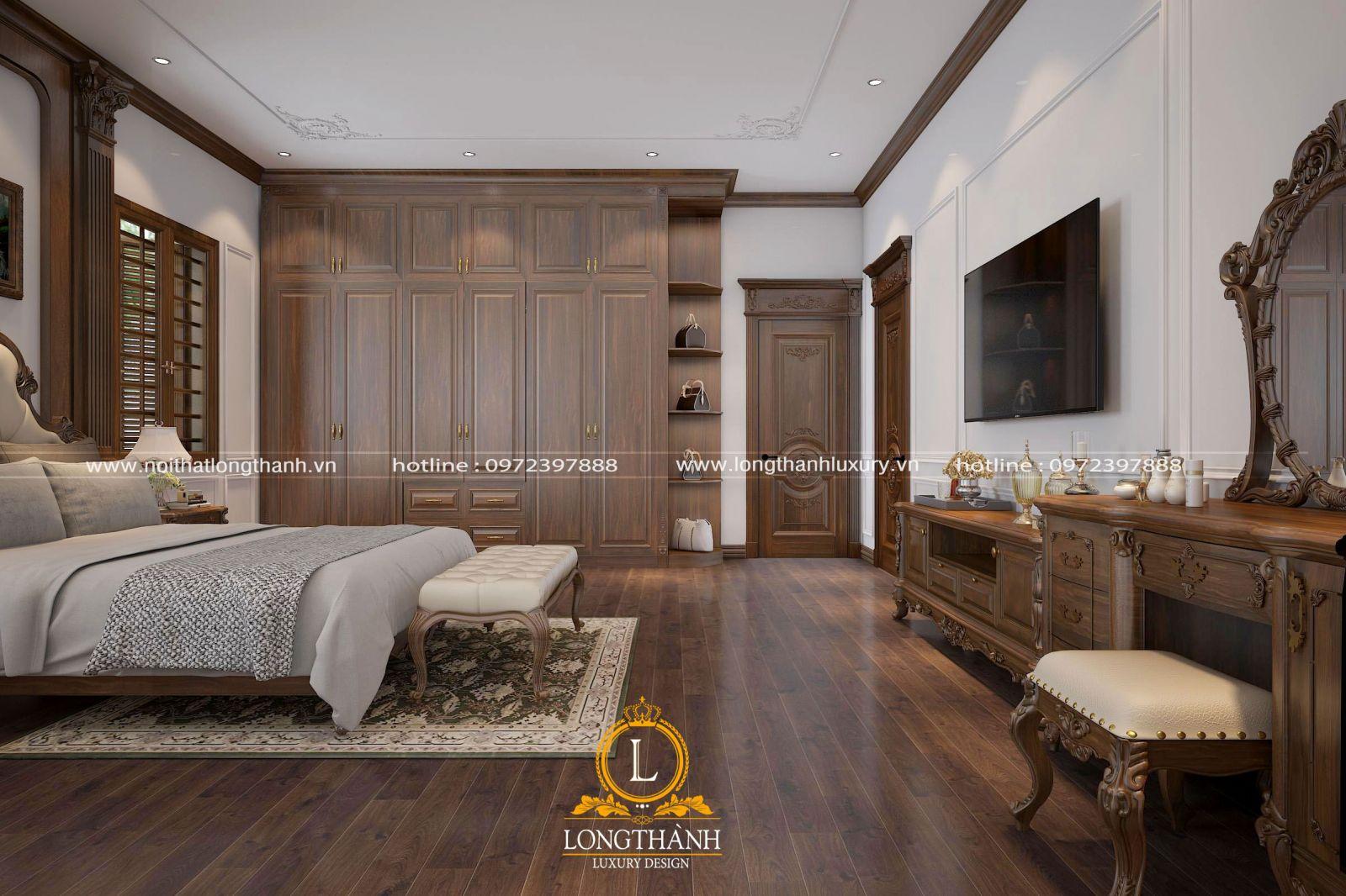 Thiết kế kệ tivi cho không gian phòng ngủ tân cổ điển