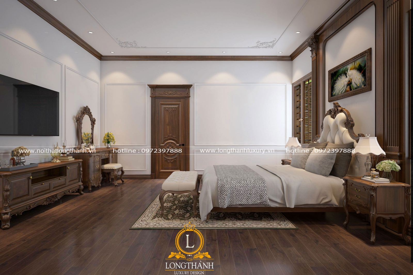 Căn phòng ngủ tân cổ điển được sử dụng hoàn toàn chất liệu gỗ tự nhiên