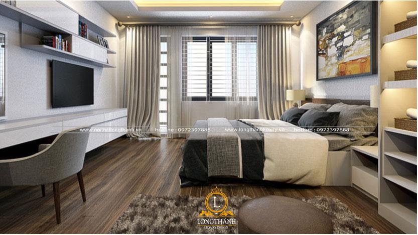Phòng ngủ được thiết kế đơn giản và tiện nghi