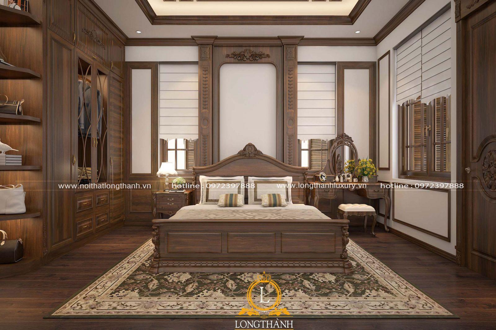 Phòng ngủ tân cổ điển gô Óc Chó sang trọng