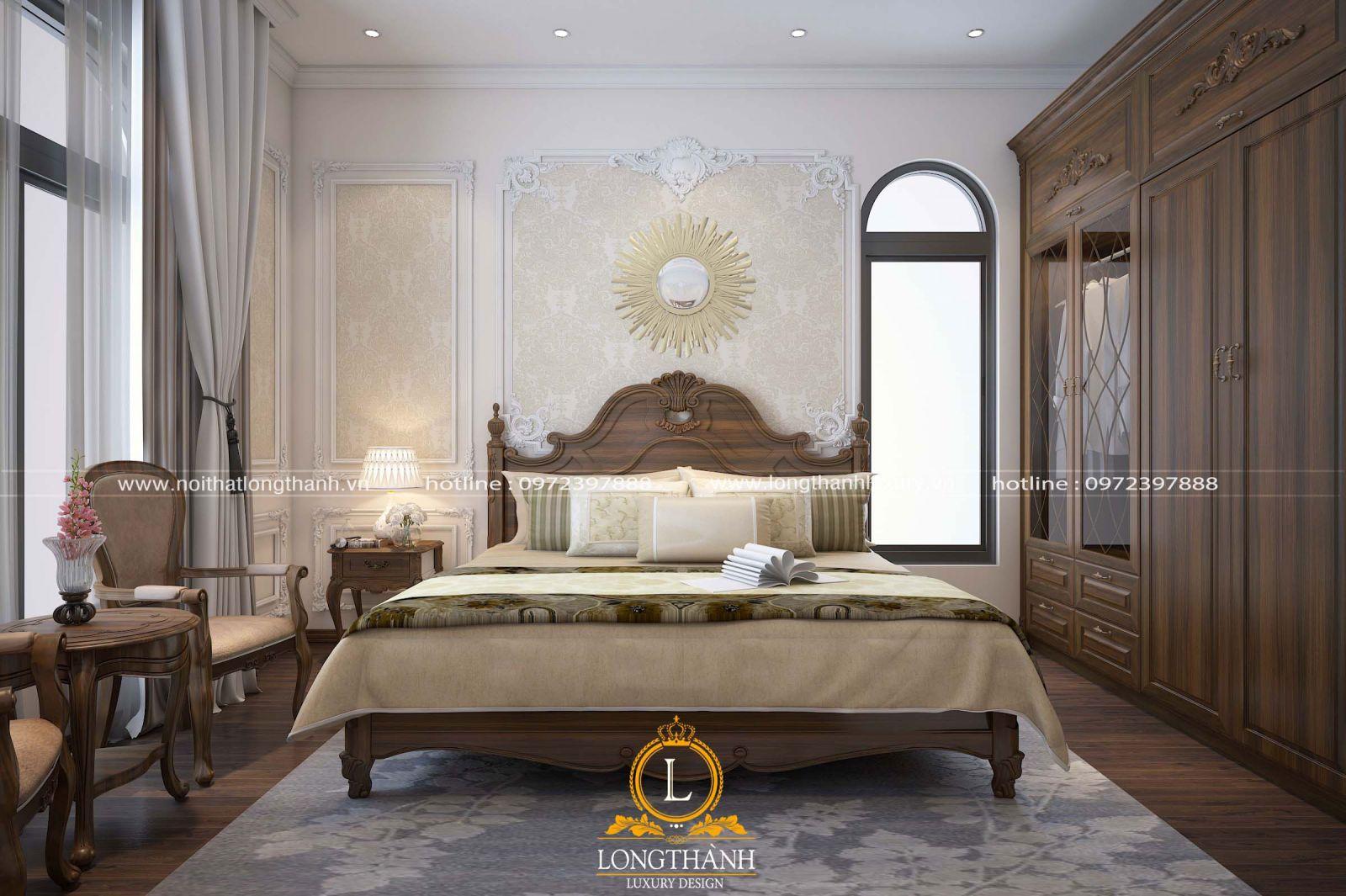 Phòng ngủ cao cấp sử dụng chất liệu gỗ Óc Chó tự nhiên